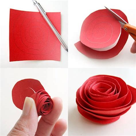 Easy Paper Flower Crafts - diy paper flower tutorial step by step