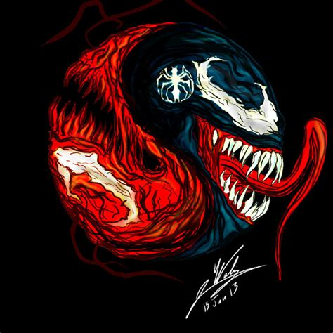 venom carnage yin yang by amalgam images on deviantart