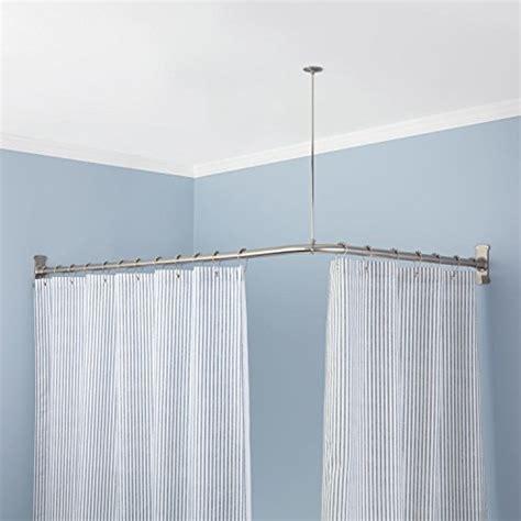 the curtain rod store corner shower curtain rod 72 l x 36 w polished brass