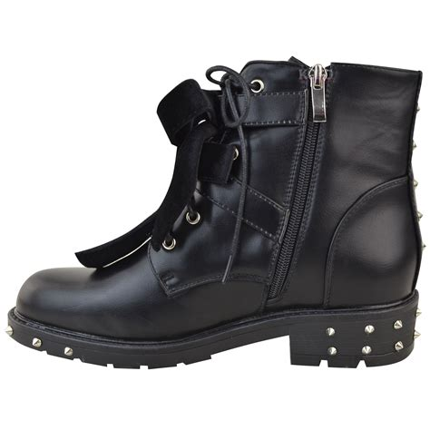 womens flat biker boots womens studded lace up ankle boots buckle biker
