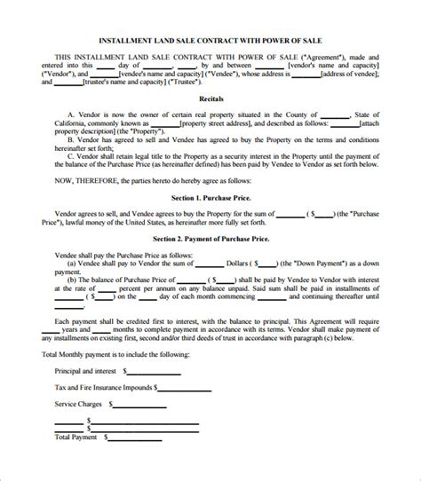installment sale agreement template sales contract template 15 free word pdf documents