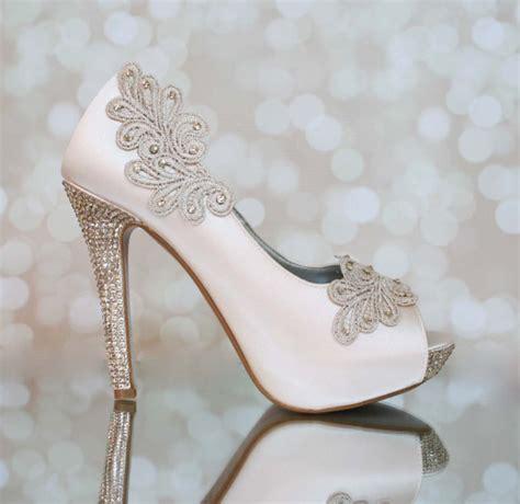 blush wedding shoes for items similar to wedding shoes blush platform peep toe