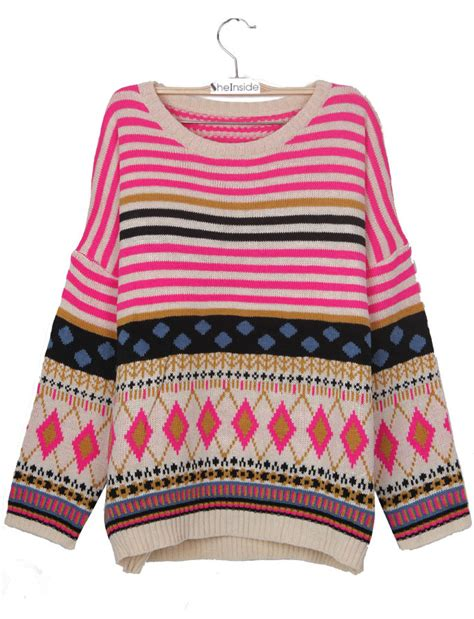 tribal pattern cardigan sweater pink batwing sleeve striped geometric pattern tribal