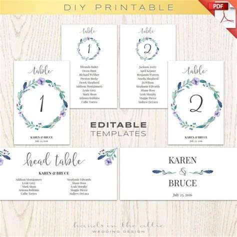 table numbers template for weddings floral wedding table numbers printable template seating
