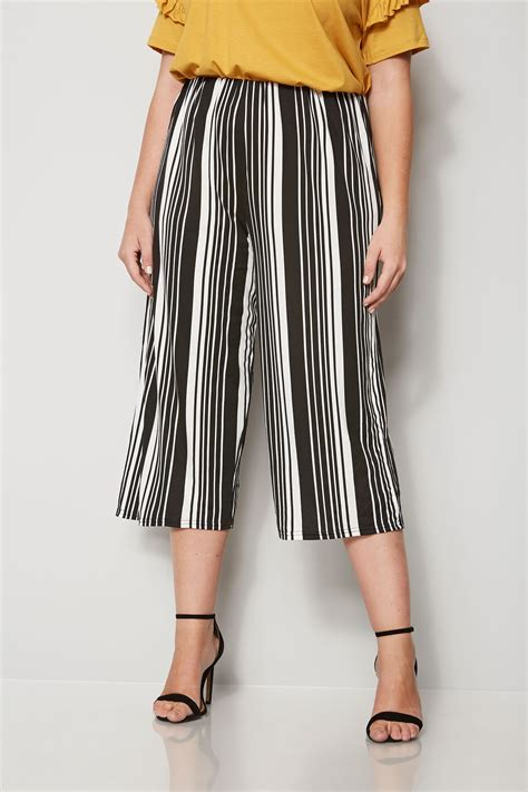 Napoclean Strong By Nry Fashion black white striped culottes plus size 16 to 36