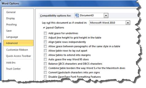 word layout options reader question underlining trailing spaces legal