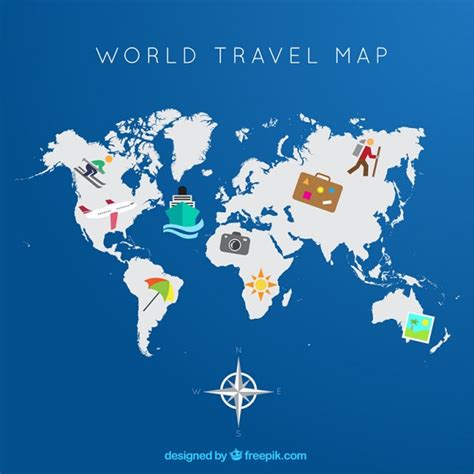 world travel map vector premium