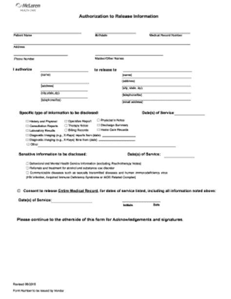 mclaren hospital address mclaren authorization for release of information form