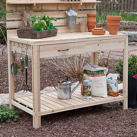 potting bench with storage cedar wood potting bench with sink gardening planting