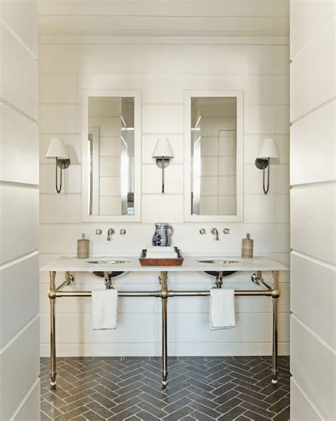 Gray Shiplap Wall Gray Herringbone Brick Floor Tiles Transitional Bathroom