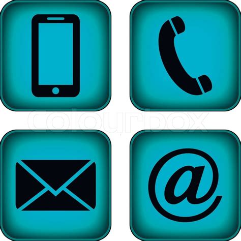 mobile mail contact buttons set email envelope phone mobile icons