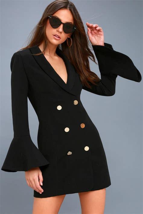 Black Dress Dress Black Dress Blue Dress Blazer chic black dress flounce sleeve dress button up dress