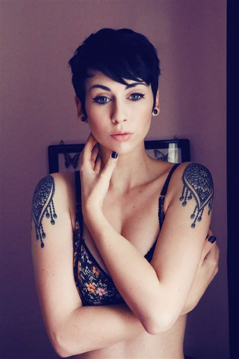 tattoo shoulder hair me girl lovely tattoo portrait ink short hair tattoo girl