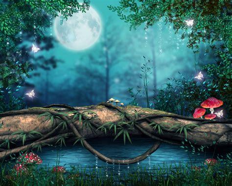 wallpaper en 3d hermosa noche en un bosque encantado 3d arte y