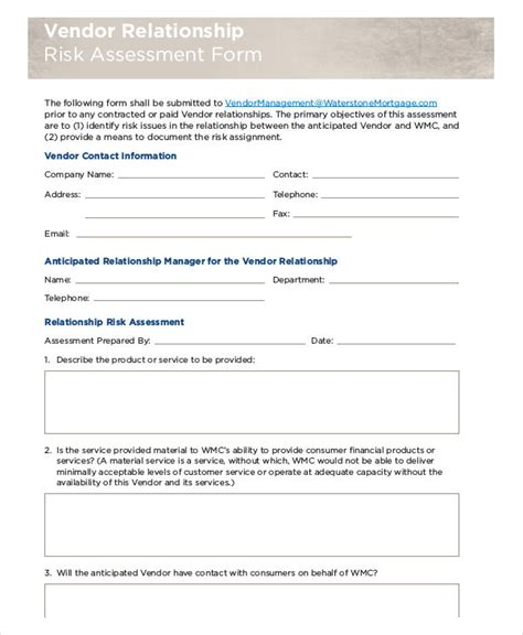 vendor risk assessment template gallery templates design
