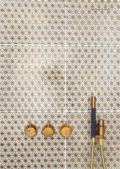 Made A Mano by Made A Mano Collection Gold Pattern Bathroom Tiles