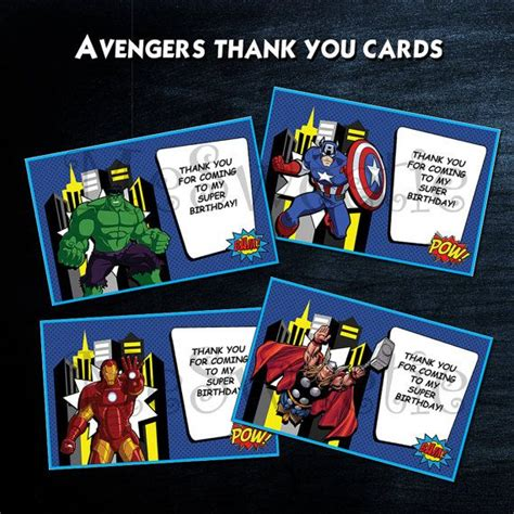 Marvel Birthday Card Template by Thank You Cards Instant
