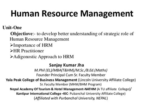 Mba Vs Hrm by Emergence Or Hrm