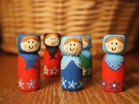 Ornaments Handmade Crafts - handmade matryoshka baboushka or kokeshi
