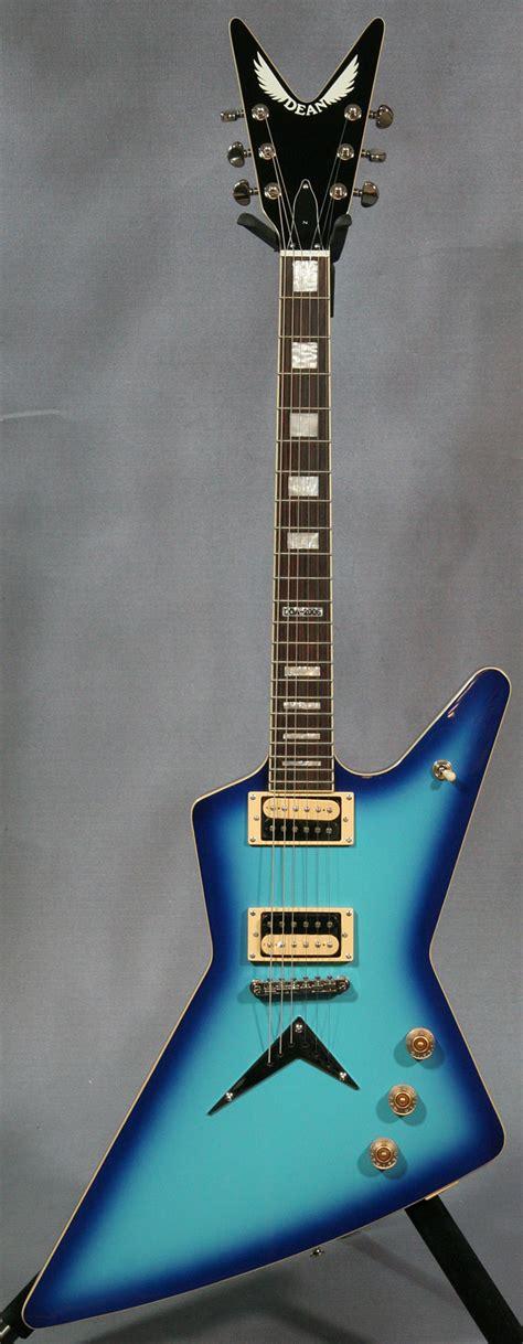 blue dean dean doa z blue burst guitar