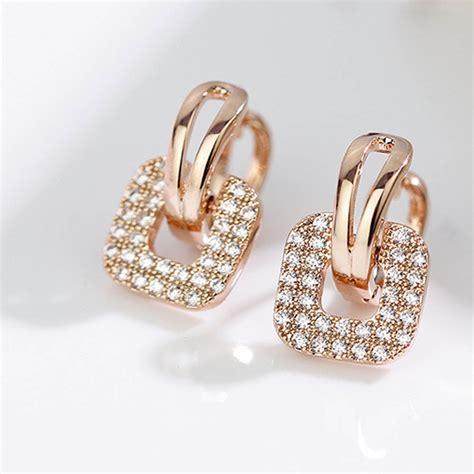 fashion silver gold color rhinestone square stud earrings for temperament