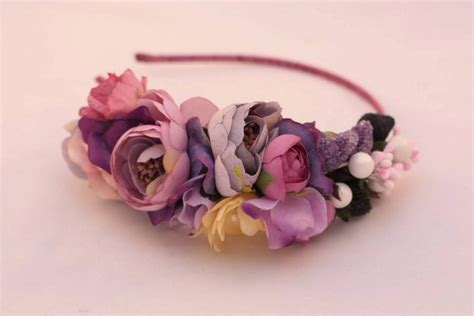 Hair Accessories Handmade - purple flower headband flower crown shabby chic headband