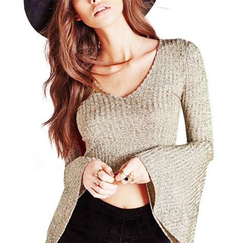 crop top sleeve knit low cut tops for