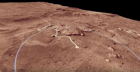 jezero crater fly   landing site  nasas  mars rover video space