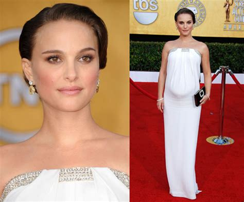 Maternity Gowns Get At Sag by Natalie Portman In White Azzaro At Sag Awards 2011