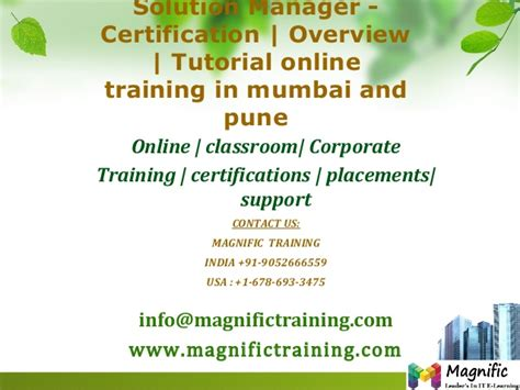 oracle tutorial in mumbai solution manager certification overview tutorial online