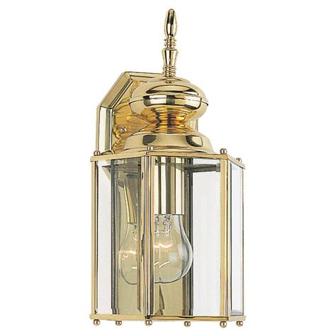 Seagull Outdoor Lighting Sea Gull Lighting Classico Collection 1 Light Outdoor Brass Wall Lantern 8509 02 The Home Depot