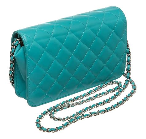 Restok Tas Chanel Woc Camellia Box Chanel chanel wallet on chain bag teal lambskin leather silver hardware baghunter