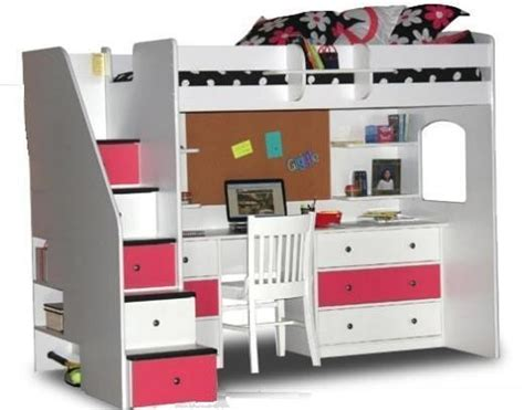 Bunk Beds With Stairs And Desk by White Loft Bed With Desk And Stairs Foter