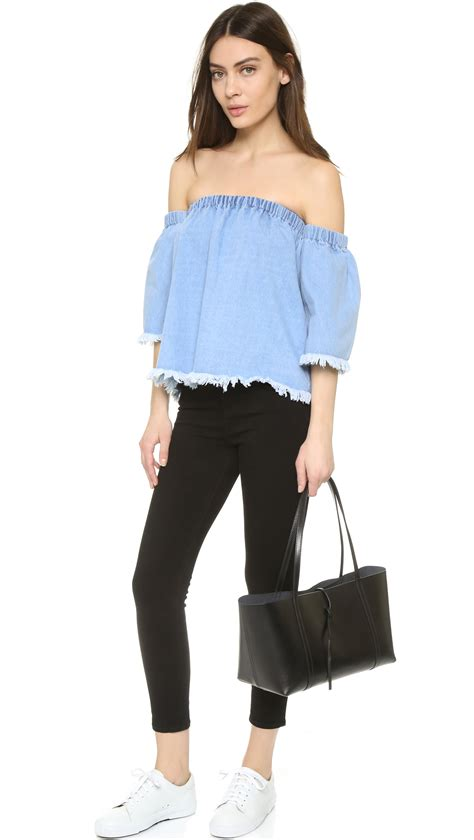 Baby Blue Blouse Girly joa frayed denim cold shoulder blouse in blue baby blue lyst