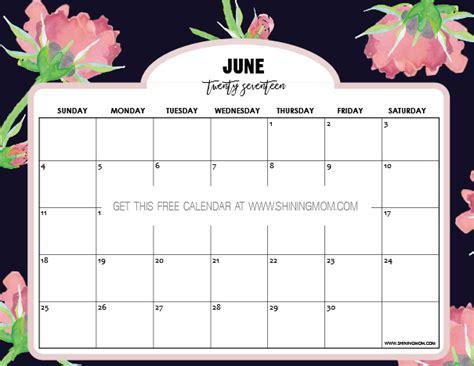 Calendar 2017 June Free Printable June 2017 Calendar 12 Awesome Designs