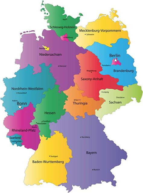 map germany regions map of the different regions in germany germany