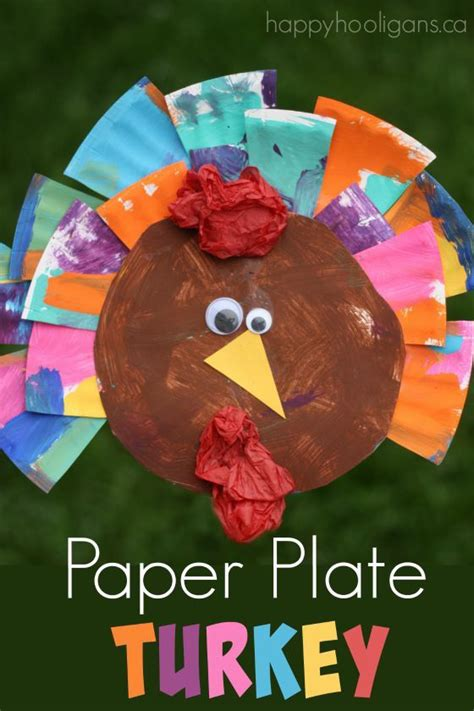 Paper Crumpling Craft - painted paper plate turkey craft thanksgiving happy and