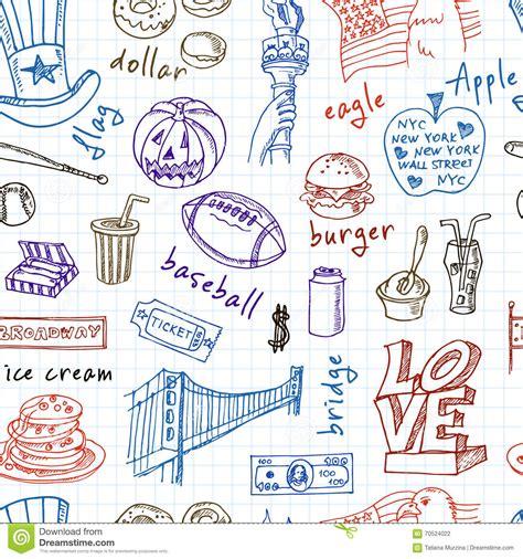 doodle 4 usa doodle usa symbols seamless pattern stock