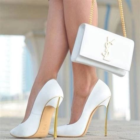 gold and white high heels ysl white and gold high heels shoes