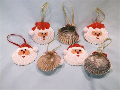 christmas crafts with shells set of two seashell santa ornaments by vicscrafts crafts santa