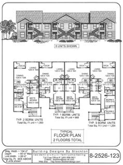 8 plex apartment plans 4 plex skinny units apartment house plan ideas