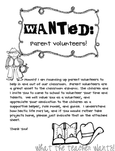 Parent Helper Letter What The Wants Back 2 School Parent Volunteers