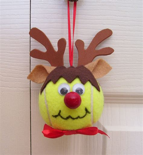 christmas reindeer ornament tennis ball boy by roseartworks