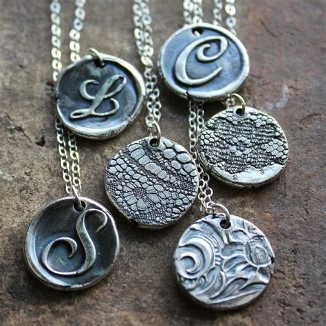dough jewelry wax seal monogram necklace reversible lace imprint vintage