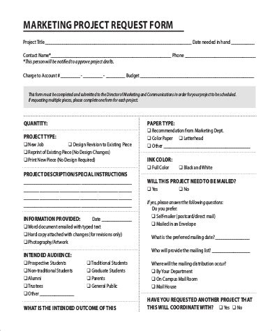 Marketing Form Template 9 Sle Project Request Forms Sle Templates