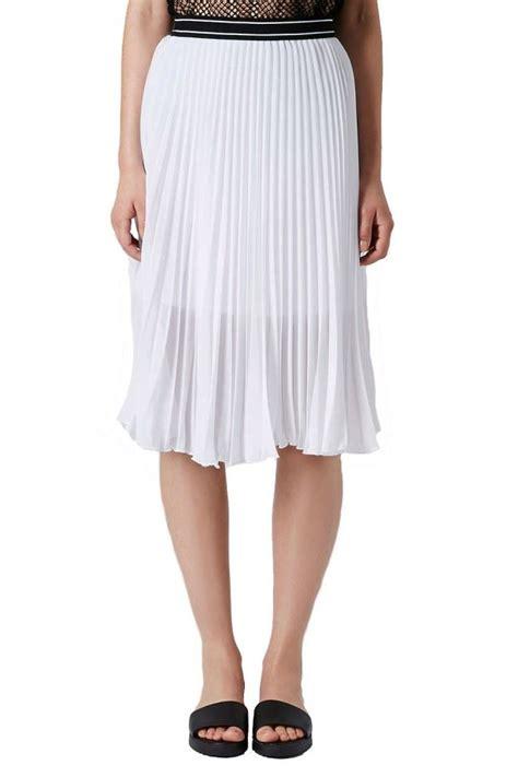 topshop white sport waistband pleated midi skirt ebay