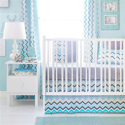 Turquoise Crib Bedding Set Aqua Chevron Nursery Bedding Thenurseries