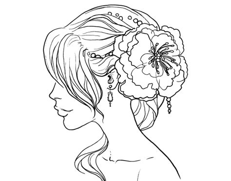 flower wedding hairstyle coloring page coloringcrewcom