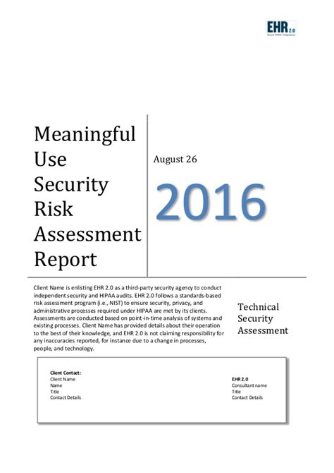 meaningful use security risk analysis template meaningful use risk assessment template