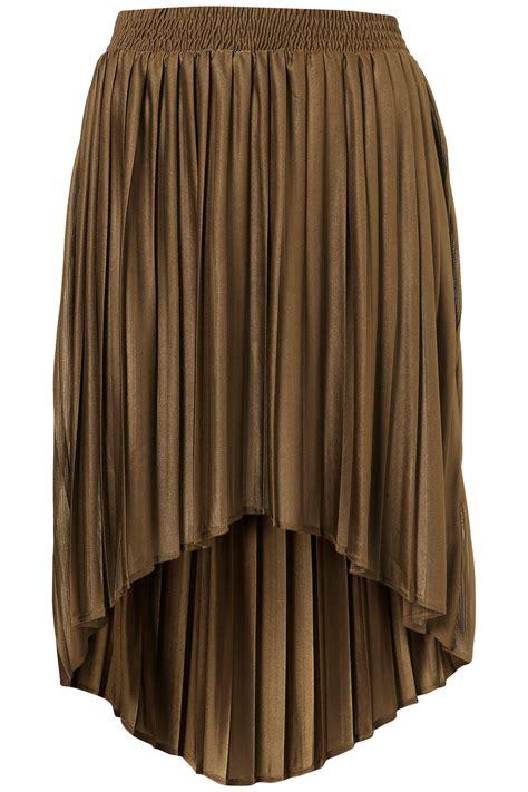topshop pleated dip hem skirt in brown lyst